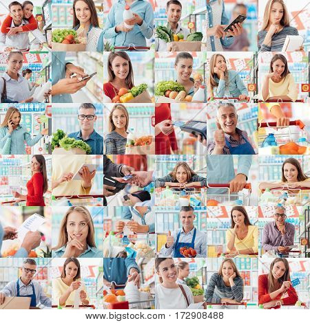 Smiling people at the store customers doing grocery shopping and supermarket clerks picture collage