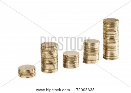 Thai coin stack on isolated background . financial concept .