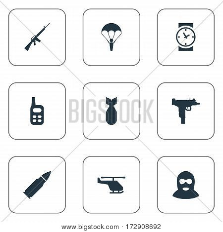 Set Of 9 Simple Military Icons. Can Be Found Such Elements As Helicopter, Terrorist, Ammunition And Other.