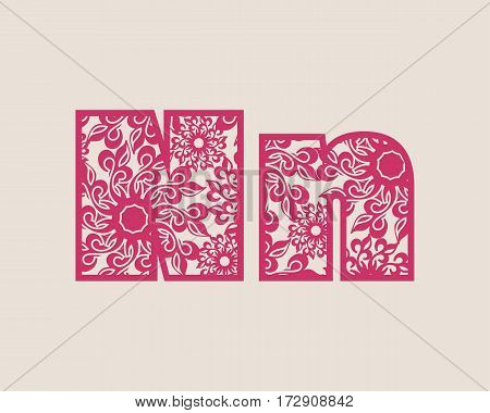 Decorative alphabet vector font. Letter N. Typography for headlines, posters, logos etc. Uppercase and lowercase symbols