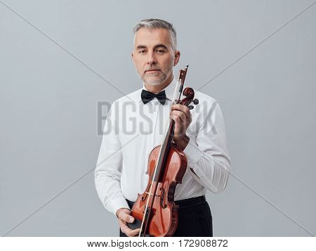 Violinist Posing With His Violin