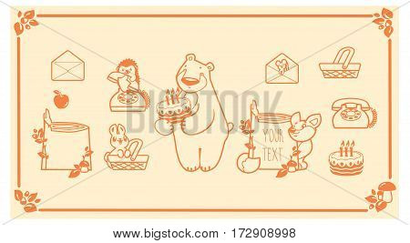 Woodland animals and decor elements set. Vector forest friends characters and icons. bear fox rabbit hedgehog mouse.