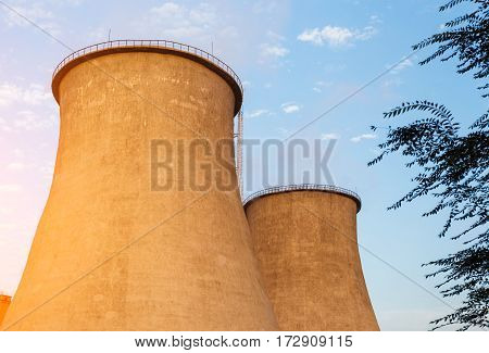Energy cooling towers in the city landscape