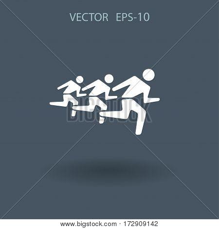 Flat icon of running mans. vector illustration