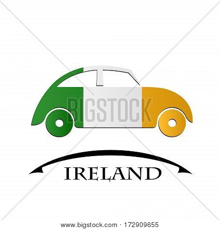 car icon made from the flag of Ireland