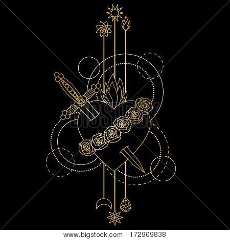 Immaculate Heart of Blessed Virgin Mary on black background. Black and gold vector illustration.
