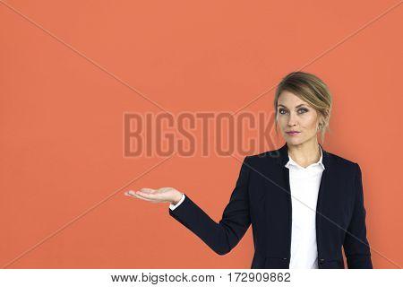 Caucasian Business Wear Woman Showing