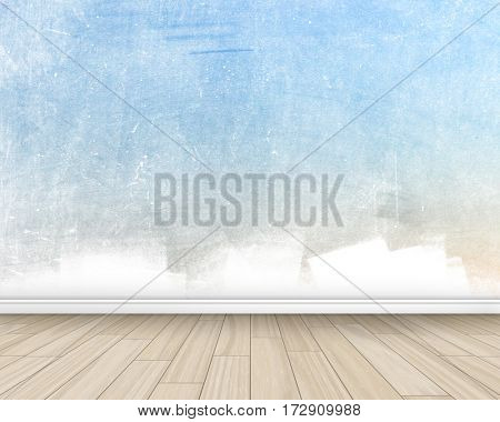 Grunge style room interior with painted wall and wooden floor