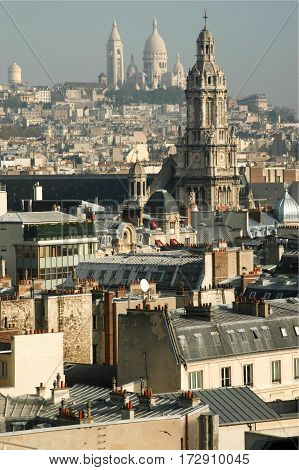Paris, France - 22 June 2001: Cityscape of Paris seen from above