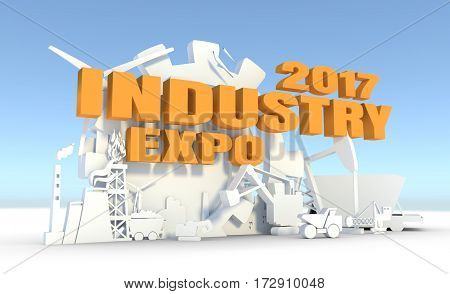 Energy and Power icons set. Sustainable energy generation and heavy industry. 3D rendering. Industry expo text