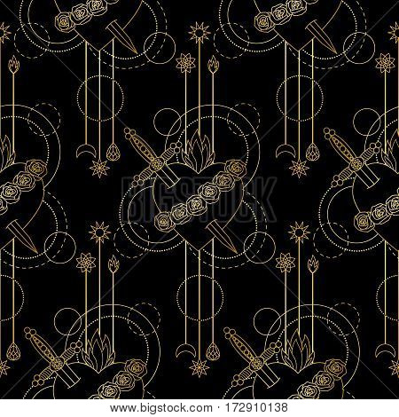 Seamless pattern of Immaculate Heart of Blessed Virgin Mary on black background. Black and gold wallpaper.