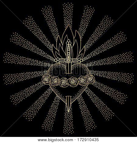 Immaculate Heart of Blessed Virgin Mary in rays of sun on black background. Black and gold vector illustration.