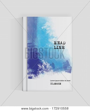 Blue abstract design. Ink paint on brochure Watercolor element isolated on white. Grunge banner paints. Simple composition. Liquid ink. Background for banner card poster identityweb design.