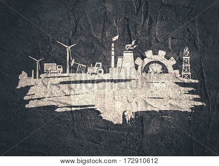 Energy and Power icons set and grunge brush stroke. Energy generation and heavy industry relative image. Agriculture and transportation. Concrete textured