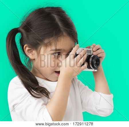 Little Girl Hands Hold Camera Shooting