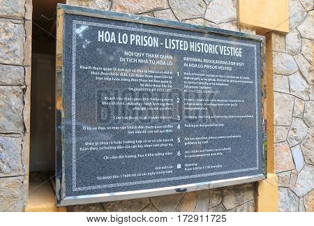 HANOI VIETNAM - NOVEMBER 22, 2016: Hoa Lo Prison information board. Hoa Lo Prison was a prison used by the French colonists in Vietnam for political prisoners.