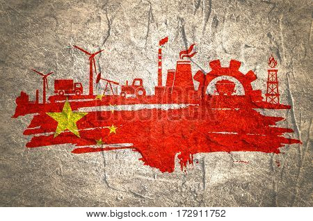 Energy and Power icons set and grunge brush stroke. Energy generation and heavy industry relative image. Agriculture and transportation. Concrete textured. Flag of the China