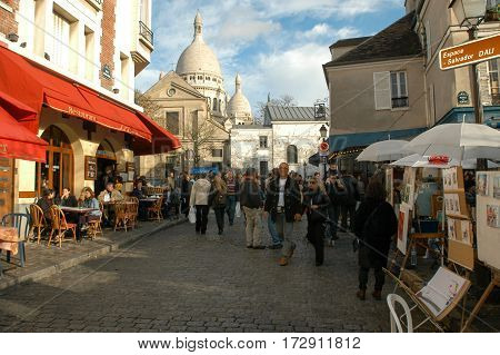 People Shopping At The Market Of Monmartre