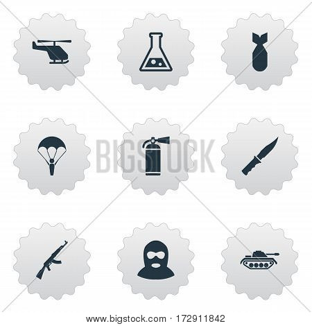 Set Of 9 Simple Battle Icons. Can Be Found Such Elements As Nuke, Helicopter, Extinguisher And Other.