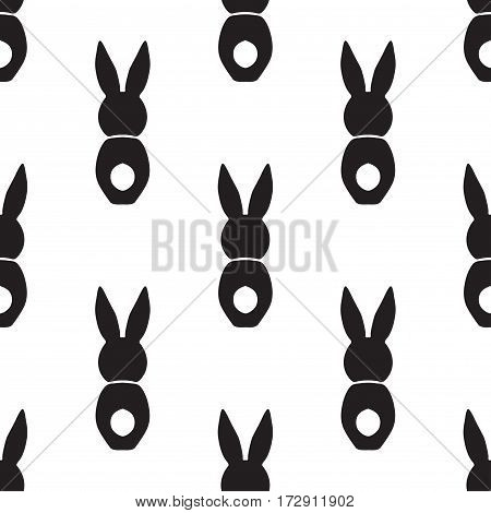 Seamless pattern with bunnies. Vector design illustation Happy Easter holiday symbols