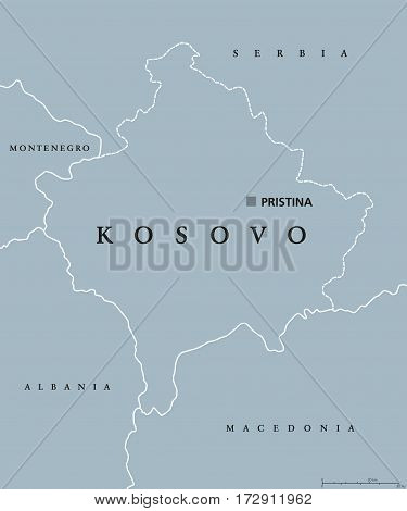 Kosovo political map with capital Pristina, national borders and neighbor countries. Disputed territory, partially recognised state in Southeastern Europe. Gray illustration, English labeling. Vector.