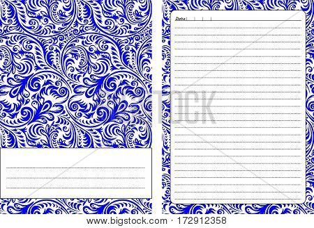 Set of pages template for daily planner. Printable, for scrapbooking. Blue openwork ornament design. Part 2. Diary cover, page for every day notes. Vector illustration..