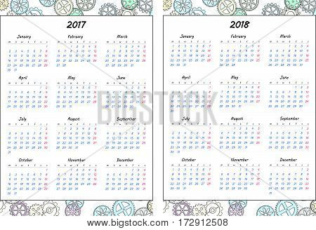 Set of pages template for daily planner. Printable for scrapbook. Gears design. Part 1. Calendar 2017 and 2018 years. Vector illustration.