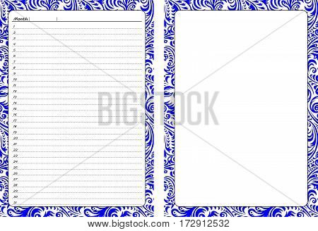 Set of pages template for daily planner. Printable for scrapbooking. Blue openwork ornament design. Part 4. Page for every day in month notes and empty sheet with border. Vector illustration.