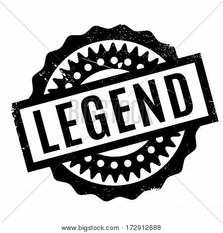 Legend rubber stamp. Grunge design with dust scratches. Effects can be easily removed for a clean, crisp look. Color is easily changed.