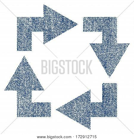 Recycle vector textured icon for overlay watermark stamps. Blue jeans fabric vectorized texture. Symbol with dust design. Blue ink rubber seal stamp with fiber textile structure.
