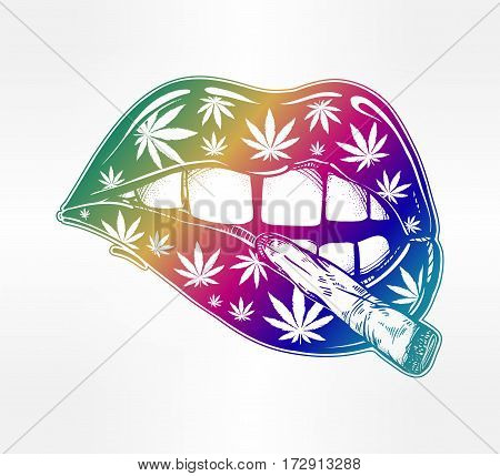Sexy fatal biting lips with weed pattern and weed joint or spliff or tabacco cigarette. Pop art print. Drug consumption, marijuana use clip art. Elegant tattoo artwork. Isolated vector illustration.