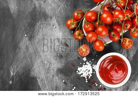 Tomato Sauce In White Bowl, Spice And Cherry Tomatoes On A Dark Background. Top View, Copy Space. Fo