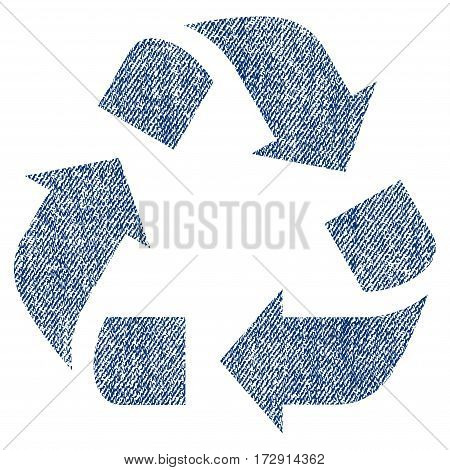 Recycle vector textured icon for overlay watermark stamps. Blue jeans fabric vectorized texture. Symbol with unclean design. Blue ink rubber seal stamp with fiber textile structure.