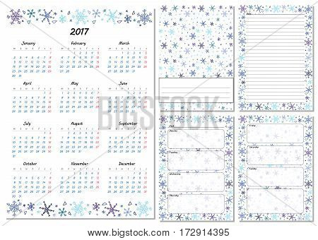 Set of pages template for daily planner. Printable for scrapbooking. Snowflakes design. Part 1. Calendar 2017 cover for every day in week notes lined page. Vector illustration.