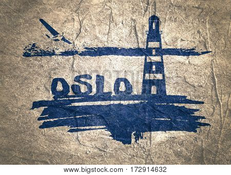 Lighthouse on brush stroke seashore. Clouds line with retro airplane icon. Oslo city name text. Concrete textured