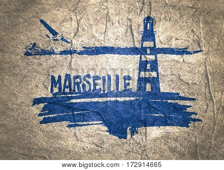 Lighthouse on brush stroke seashore. Clouds line with retro airplane icon. Marsielle city name text. Concrete textured