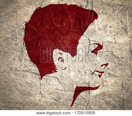 Face profile view. Elegant silhouette of a female head. Short hair. Monochrome gamma. Concrete textured.