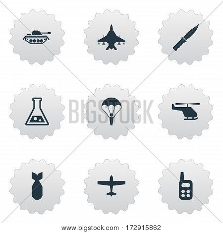 Set Of 9 Simple War Icons. Can Be Found Such Elements As Sky Force, Heavy Weapon, Chemistry And Other.