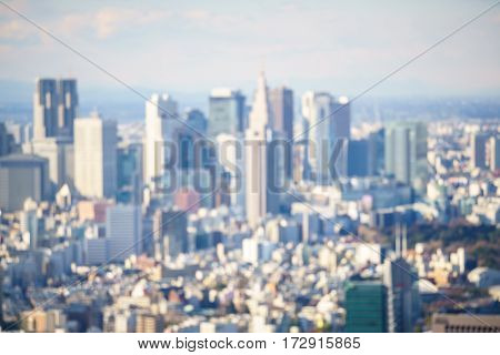 Tokyo city downtown in Japan. Blurred background.