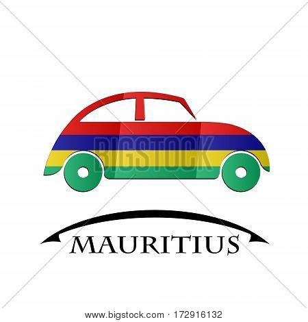 car icon made from the flag of Mauritius