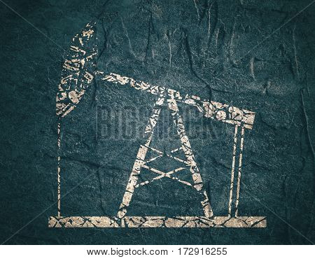 Image relative to oil mining industry. Oil pump icon. Grunge style illustration. Concrete textured.