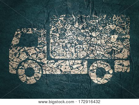 Delivery truck icon isolated. Grunge style illustration. Industrial lorry or tip truck sign. Concrete textured.