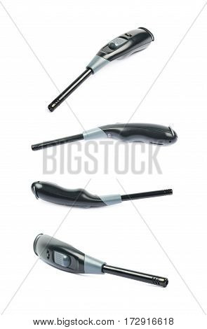 Utility long-neck black plastic lighter isolated over the white background, set of four different foreshortenings