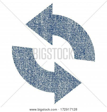 Refresh vector textured icon for overlay watermark stamps. Blue jeans fabric vectorized texture. Symbol with scratched design. Blue ink rubber seal stamp with fiber textile structure.