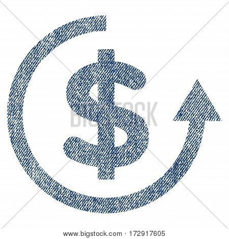 Refund vector textured icon for overlay watermark stamps. Blue jeans fabric vectorized texture. Symbol with unclean design. Blue ink rubber seal stamp with fiber textile structure.