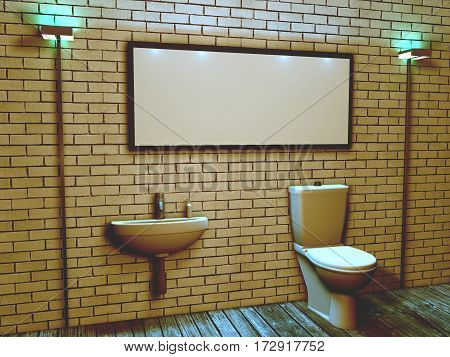 3d interior of the toilet in a loft style with a rectangular space for your inscriptio