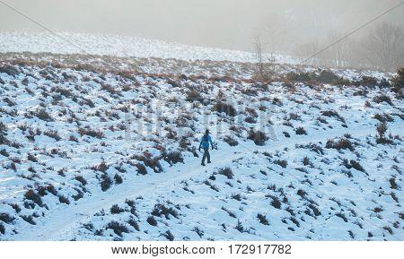 Hiker on a snowy hill in winter.