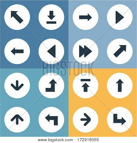 Set Of 16 Simple Pointer Icons. Can Be Found Such Elements As Right Direction , Pointer , Left Landmark.
