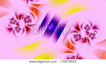 Geometry. Floral pattern. 3D surreal illustration. Sacred geometry. Mysterious psychedelic relaxation pattern. Fractal abstract texture. Digital artwork graphic astrology magic