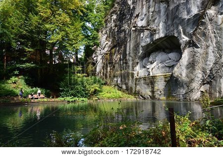 The Lion monument, or Lion of Lucerne in Lucerne